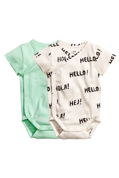 2-pack wrapover bodysuits - Light green - Kids | H&M 1